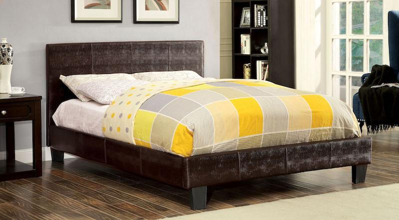 Jeni Crocodile Skin Leatherette Queen Bed Brown Furniture Enitial Lab