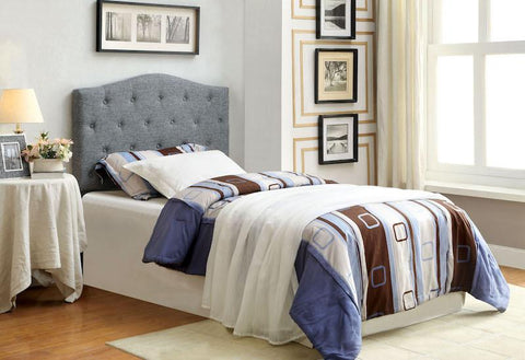 Tara Flax Fabric Twin Headboard Gray
