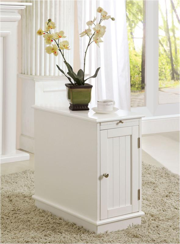 Ashel Storage Cabinet End Table White Furniture Enitial Lab