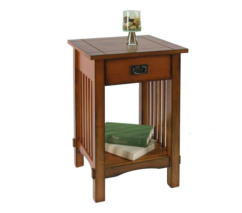 Leni Mission Style 1-Drawer End Table Oak Furniture Enitial Lab