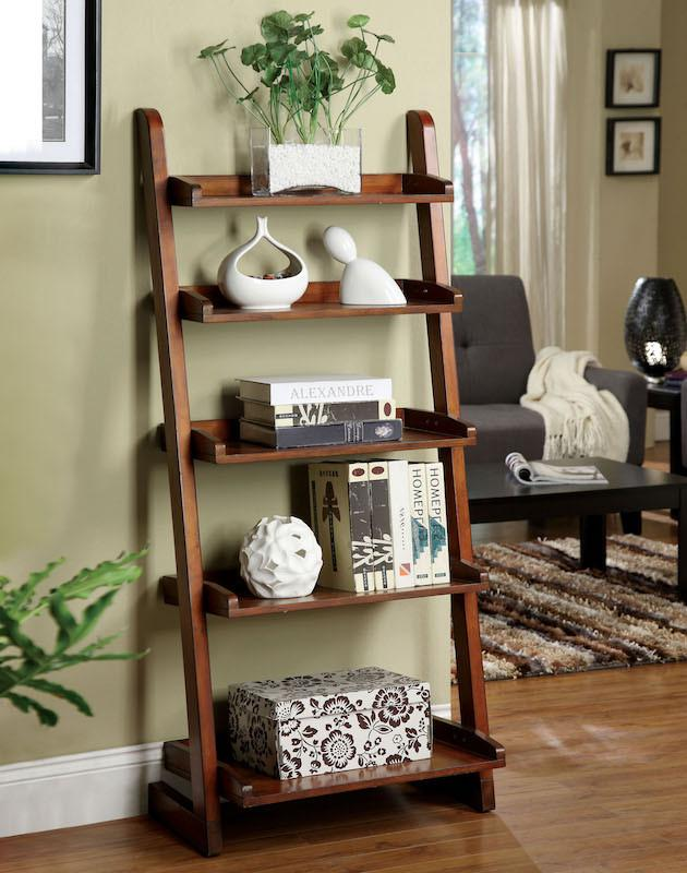 Casey Mission Style 5-Shelf Ladder Display Stand Vintage Oak Furniture Enitial Lab Oak