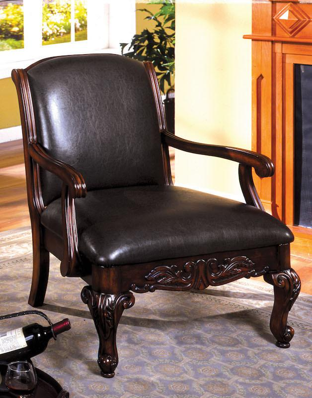 Filliman Carved Leatherette Accent Chair Dark Cherry Furniture Enitial Lab