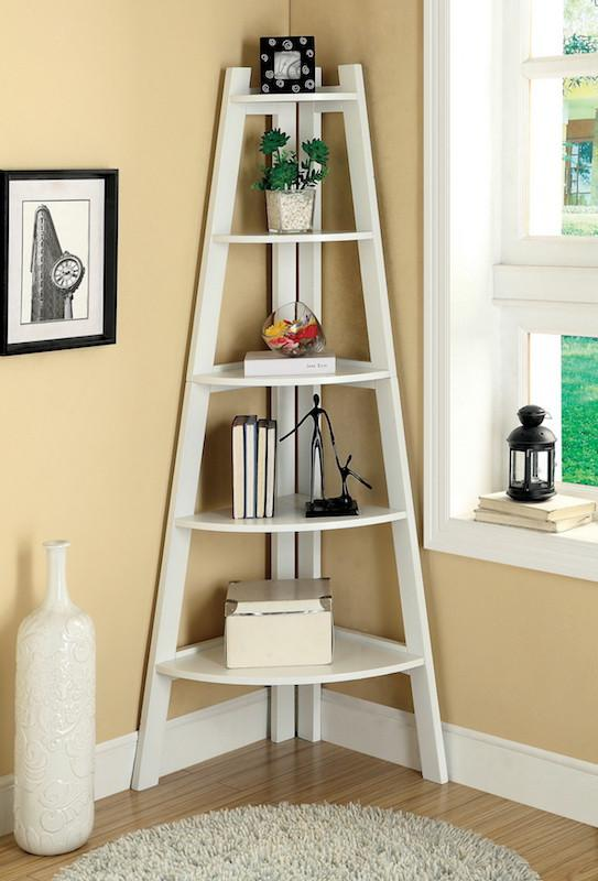 Merlor 5-Tier Corner Display Stand White Furniture Enitial Lab