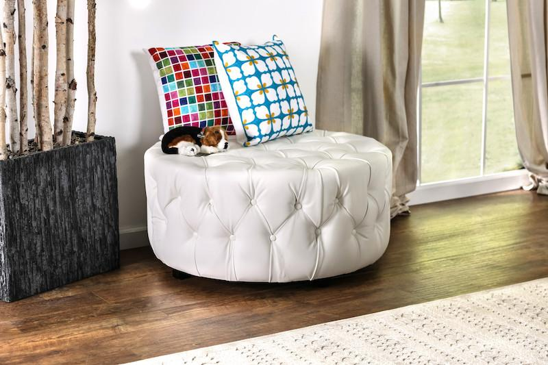 Lelan Round Tufted Bonded Leather Ottoman White Furniture Enitial Lab