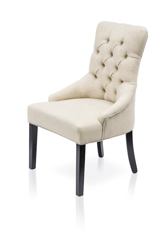 Lola Tufted Flax Fabric Accent Chair Ivory (Set of 2) Furniture Enitial Lab