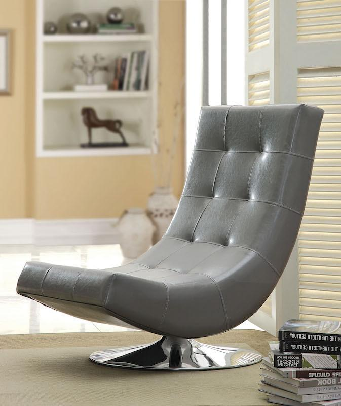 Walder Modern Tufted Leatherette Swivel Chair Gray Furniture Enitial Lab