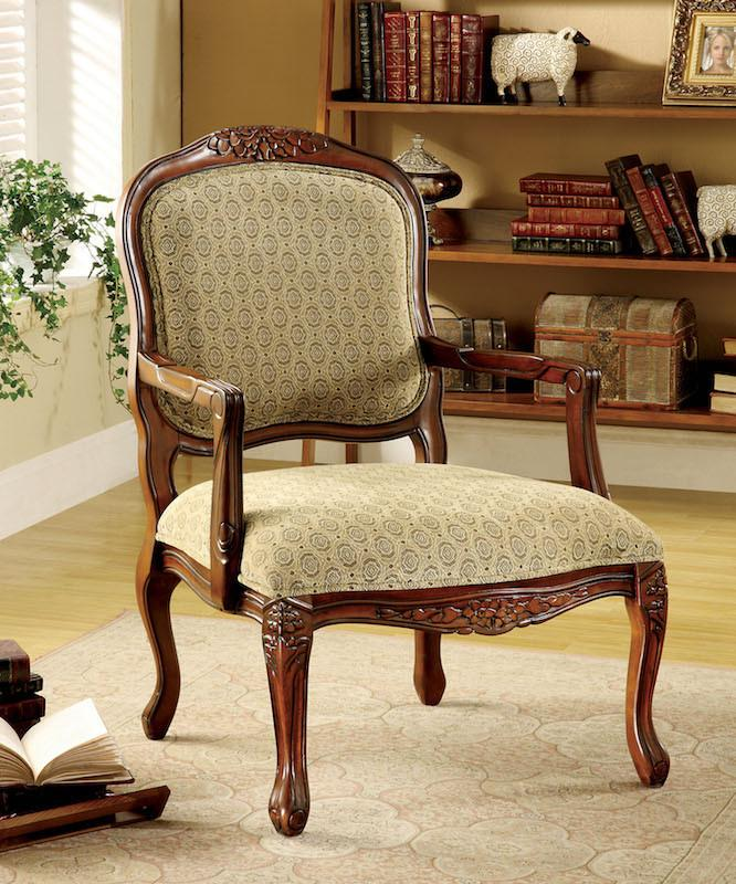 Cenea Fabric Upholstered Accent Chair Antique Oak Furniture Enitial Lab