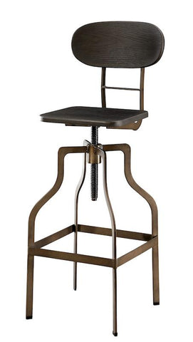 Cayan Wood & Metal Adjustable Bar Stool Dark Brown Furniture Enitial Lab Brown