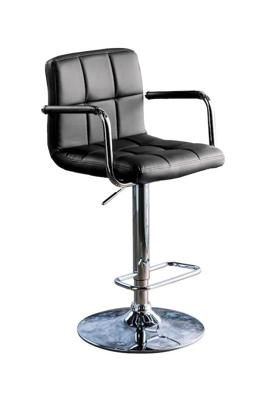 Gild Tufted Leatherette Adjustable Bar Stool Black