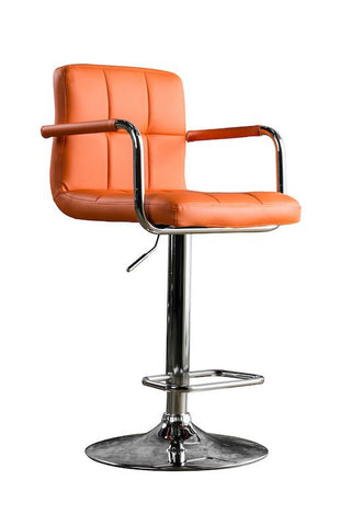 Gild Tufted Leatherette Adjustable Bar Stool Orange