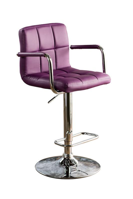 Gild Tufted Leatherette Adjustable Bar Stool Purple Furniture Enitial Lab