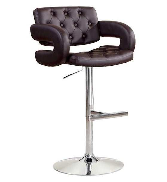 Kiles Leatherette Adjustable Bar Stool Dark Brown Furniture Enitial Lab