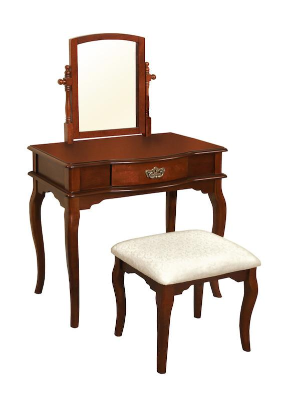 Justine 1-Drawer Vanity & Stool Set Cherry Furniture Enitial Lab