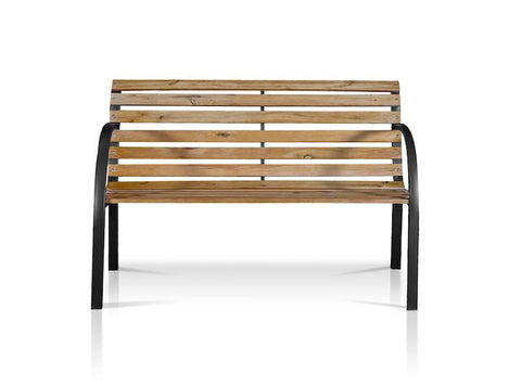 Ferine Slatted Wood & Iron Outdoor Bench Natural Oak
