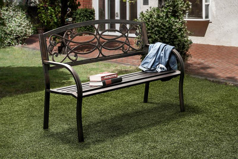 Desmi Scrolled Cast Iron Outdoor Bench Powdered Black