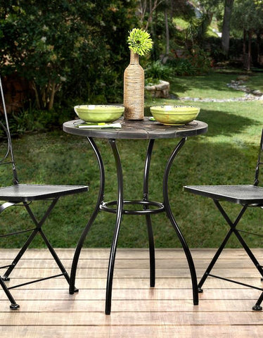 Seston Iron Stone Top Bistro Table Black Outdoor Enitial Lab