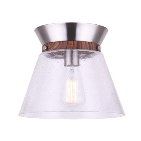 Dex 1 Light Flush Mount - Brushed Nickel/Faux Wood Ceiling 7th Sky Design
