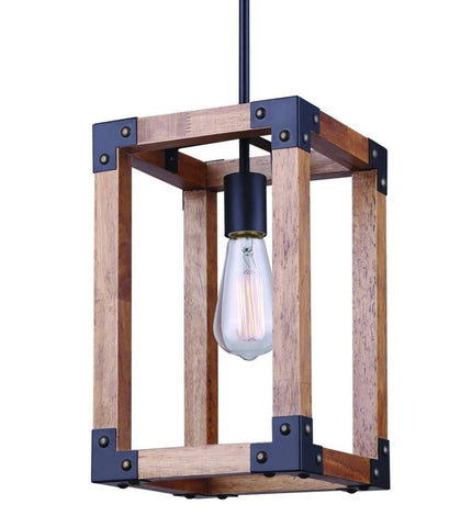 Moss 1 Light Pendant - Black and Wood Ceiling 7th Sky Design
