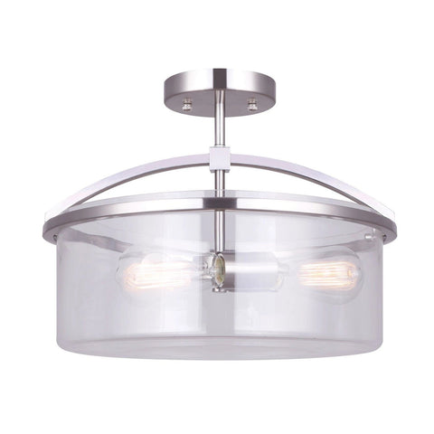 Chelsey 3 Light Semi Flush - Brushed Nickel