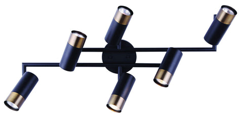 Castor 6 Light Track - Black and Gold Ceiling 7th Sky Design