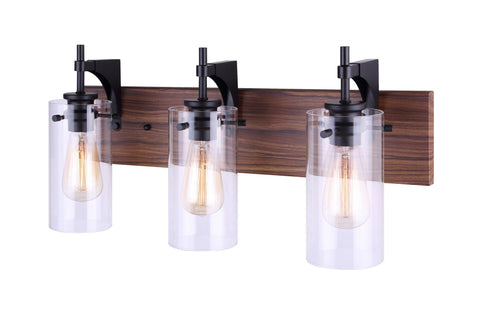 Arlie 3 Light Bath Vanity Light - Black and Wood