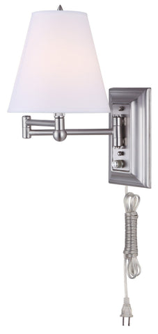 Swing Arm 1 Light Wall Fixture - Brushed Pewter Wall 7th Sky Design