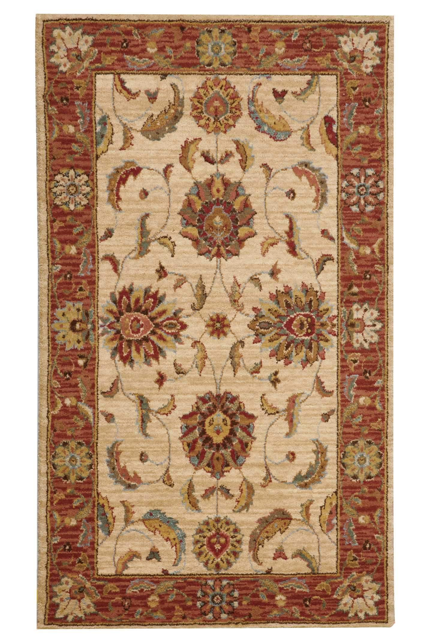 "Living Treasures Ivory Red Rug - 10 Size and Shape Options Rugs Nourison 2'6"" x 4'3"" Mat"