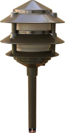 Cast Aluminum Three Tier LED Pagoda Light Bronze