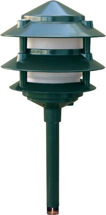 Cast Aluminum Three Tier LED Pagoda Light Green
