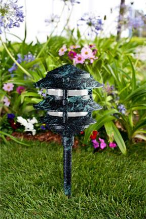 Cast Aluminum Three Tier Pagoda Light - Verde Green