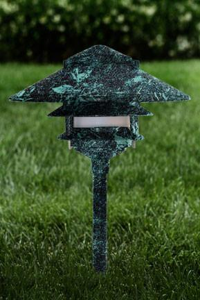Cast Aluminum Three Tier Pagoda Light - Verde Green Outdoor Dabmar
