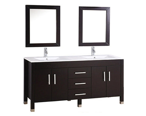 "Monaco 60"" Double Sink Bathroom Vanity Set - Espresso Furniture MTD Vanities"