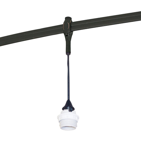 8.5 ft Rail Mounted Pendant Assembly, Med. Base Inc. Socket, Silver Tracks Nora Lighting