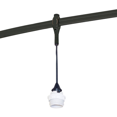 8.5 ft Rail Mounted Pendant Assembly, Med. Base Inc. Socket, Brushed Nickel Tracks Nora Lighting