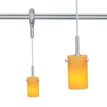 8.5' Swift Rail Pendant, Brushed Nickel, Translucent Amber Glass Tracks Nora Lighting