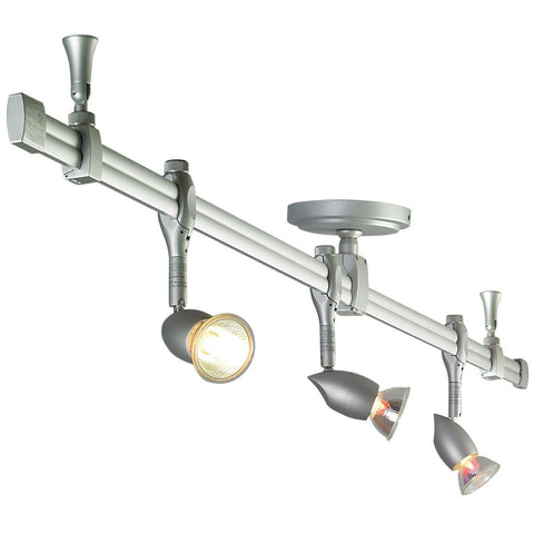 Rail Kit, 4' Straight Rail w/ (3) Neat Fixtures, Silver Tracks Nora Lighting Silver