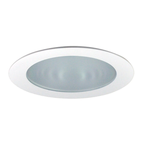"4"" Recessed Trim - Frosted Flat Lens, Specular Clear Reflector, White Ring Recessed Nora Lighting White"
