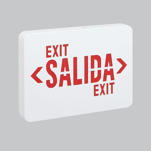 Red LED Salida Exit w/ 2-Circuit, White Housing Architectural Nora Lighting