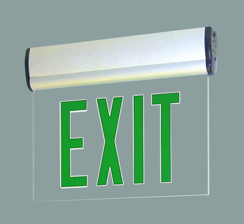 Green LED Single Face Edge-Lit Exit, AC only, Clear, Aluminum Architectural Nora Lighting