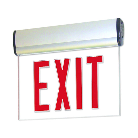 Red LED Single Face Edge-Lit Exit, AC only, Clear, Aluminum Architectural Nora Lighting