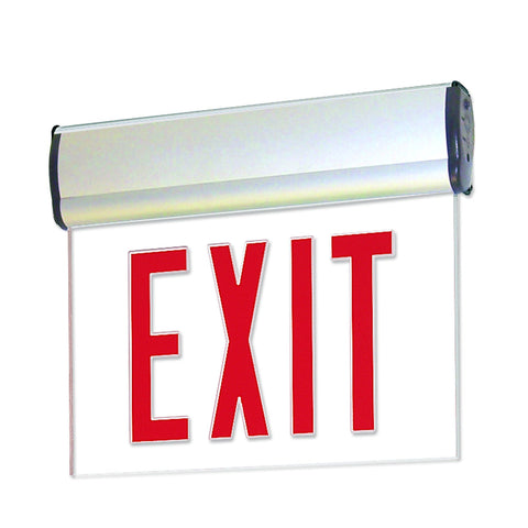 Red LED Single Face Edge-Lit Exit, 2-Circuit, Clear, Aluminum Architectural Nora Lighting