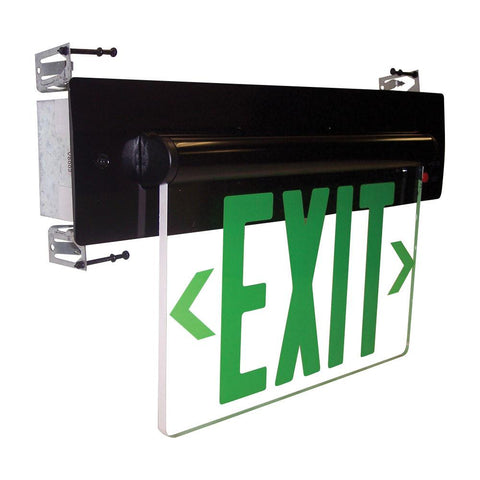Red LED Double Face Recessed Edge-Lit Exit, AC only, Mirror, Alum. Architectural Nora Lighting