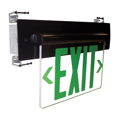 Green LED Double Face Recessed Edge-Lit Exit, AC only, Mirror, Alum. Architectural Nora Lighting