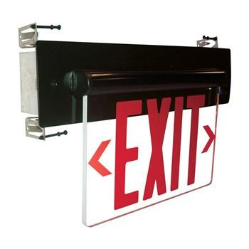 Red LED Single Face Recessed Edge-Lit Exit Sign w/Dual Circuit Architectural Nora Lighting Clear Acrylic