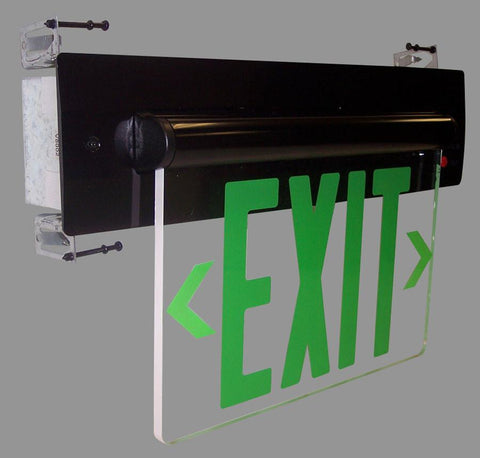 Red LED Single Face Recessed Edge-Lit Exit Sign w/Battery Backup Architectural Nora Lighting Clear Acrylic