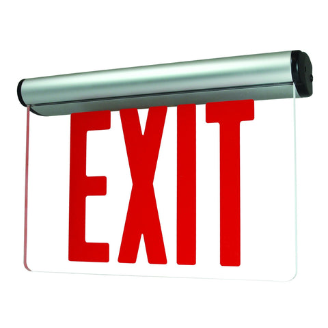 Red LED Edge-Lit Exit Sign w/Battery Backup - Aluminum Architectural Nora Lighting Clear Acrylic