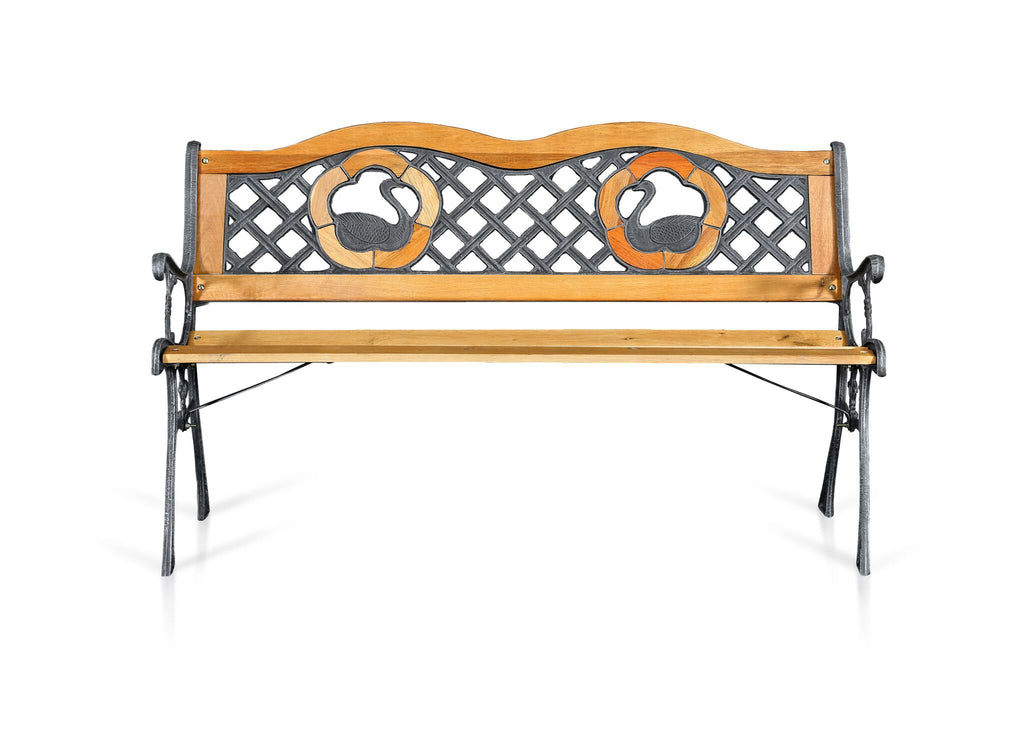 Seron Iron & Wood Dual Swan Outdoor Bench Natural Oak Outdoor Enitial Lab
