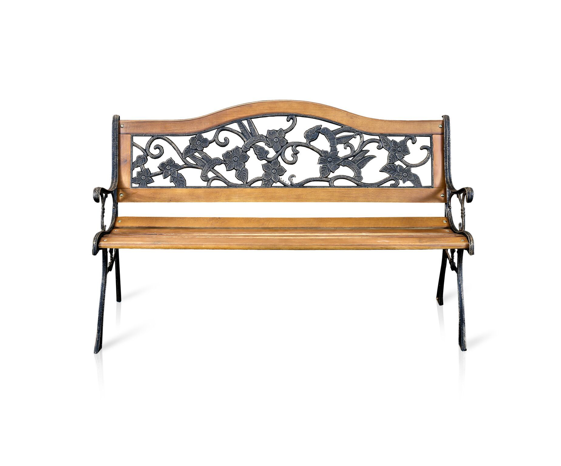 Pilas Floral Wood & Iron Outdoor Bench Natural Oak Outdoor Enitial Lab