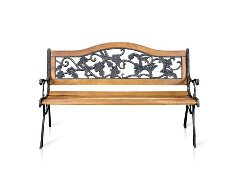 Pilas Floral Wood & Iron Outdoor Bench Natural Oak