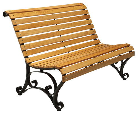 Curby Curved Slatted Wood & Iron Outdoor Bench Natural Oak Outdoor Enitial Lab